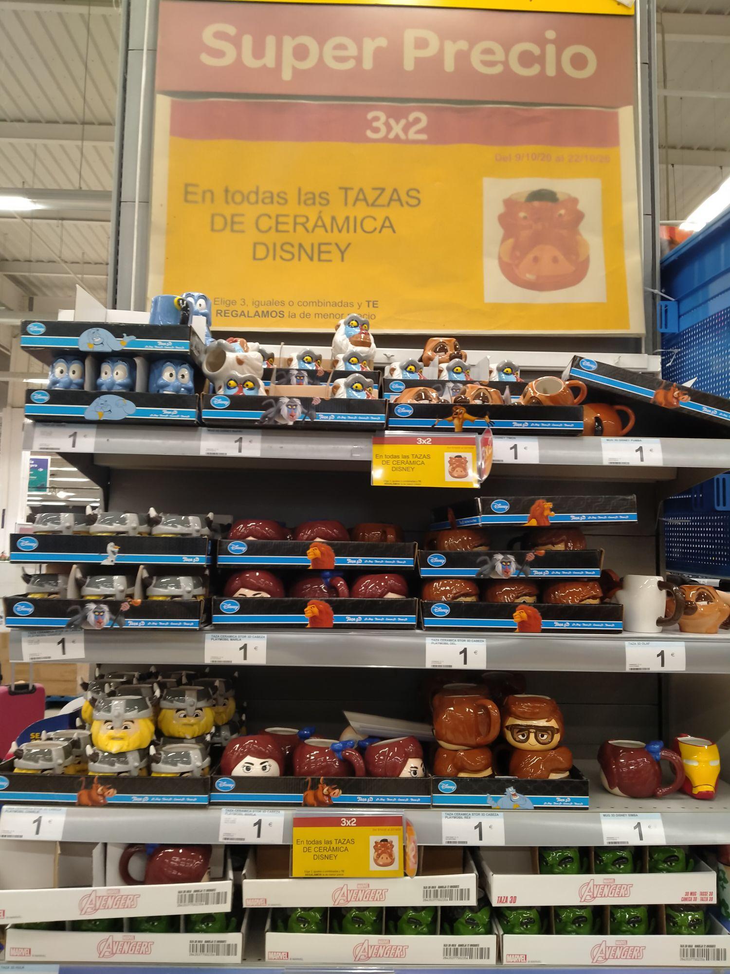 1 Taza 1€ , 3 Tazas 2€ Disney en Carrefour en Madrid CC La Gavia