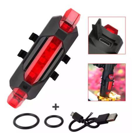 Linterna 5 LED Rojos Parte Trasera de Bicicleta con Batería Recargable USB