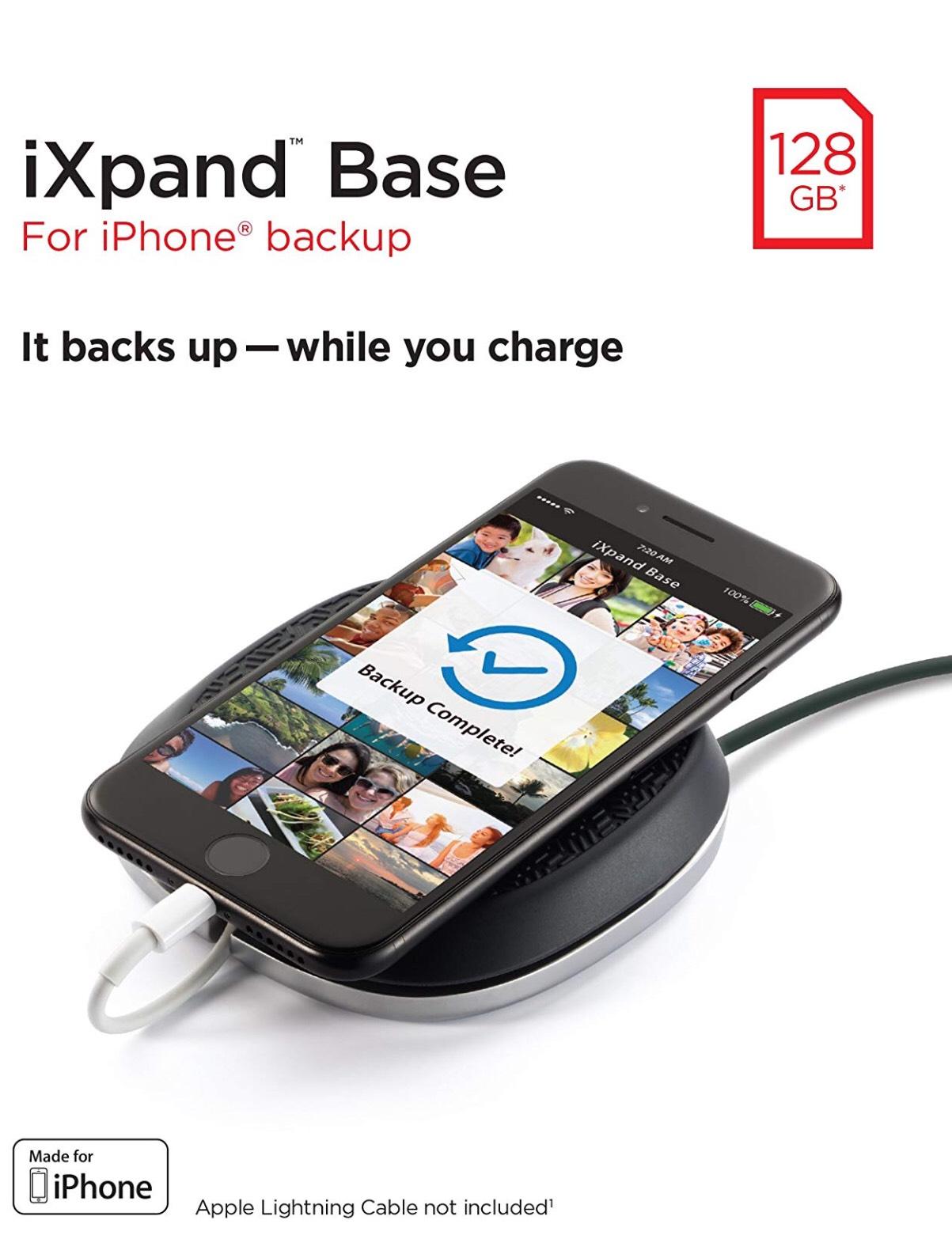 SanDisk - Base iXpand de 128 GB, para cargar iPhone y hacer copias de seguridad de su contenido
