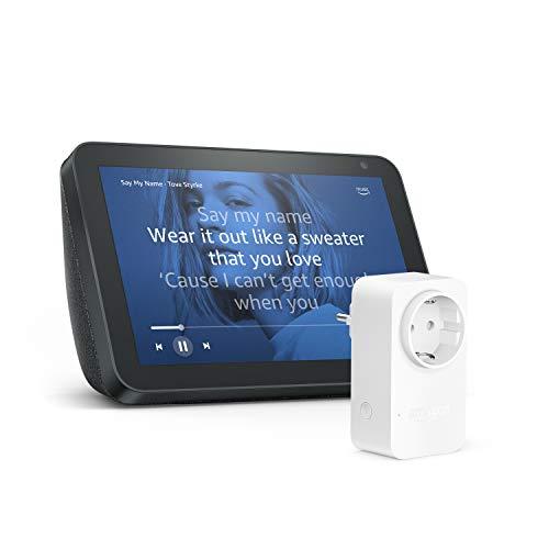 Echo Show 8, Tela de color antracita + Amazon Smart Plug (enchufe inteligente wifi)