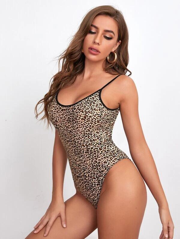 SHEIN Body de tirantes de leopardo de espalda abierta OFERTA FLASH