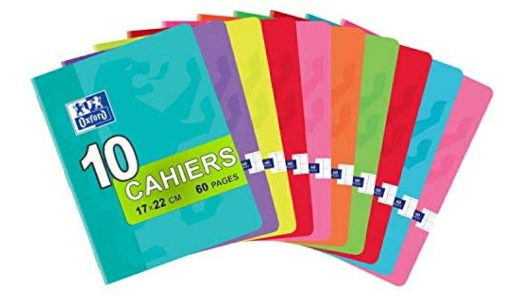 Oxford Classique – Lote de 10 cuadernos grapados pequeños de 17 x 22 cm, 60 páginas grandes, cuadriculadas, 90 g, colores surtidos