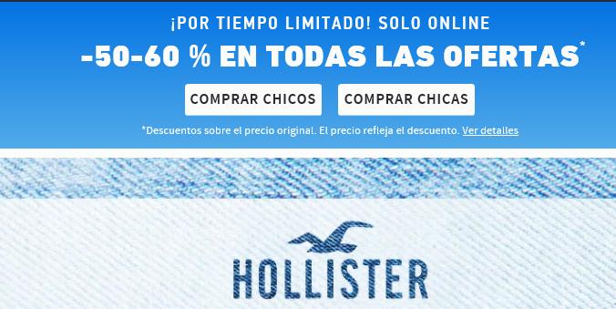 En Hollister, todo al 50 y 60% de descuento.