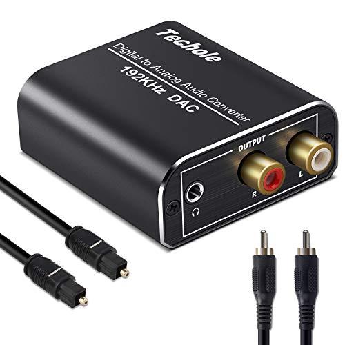 DAC - Techole Óptico a RCA, 192KHz Convertidor Digital a Analógico