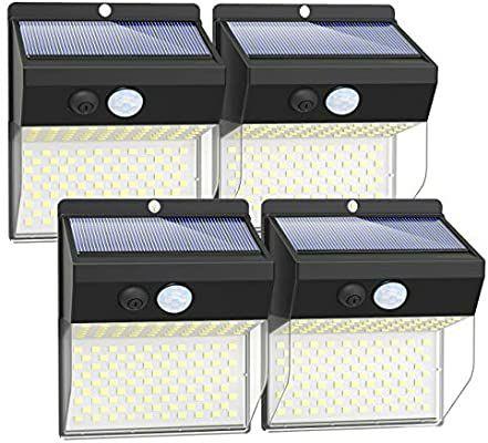 4 luces solares exterior con sensor movimiento 172 leds