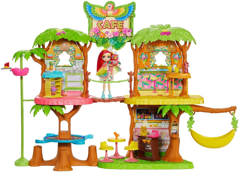 Enchantimals - Cafetería Junglewood con muñeca y mascota Peeki Parrot y accesorios