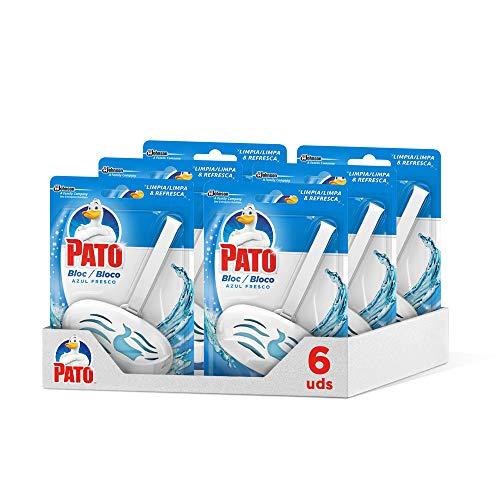 (Pack de 6) Pato - Bloc Azul Fresco limpiador y ambientador para inodoro, aplicador + recambio