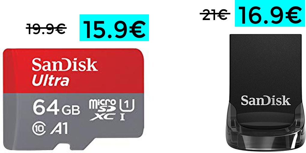 MicroSD SanDisk de 64 Gb solo 15.9€ y pendrive 3.1 de 64GB a 16.9€