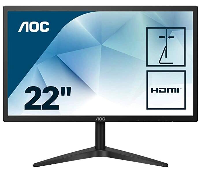 "AOC 22B1HS - Monitor 21.5"" FHD (1920x1080, 60 Hz, 5 ms, 250 CD/m², IPS Sin Bordes, Flicker Free y Low Blue Light, VGA, HDMI)"