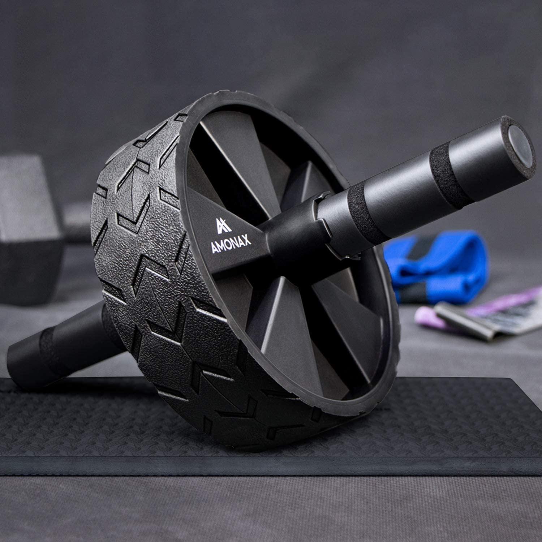 Amonax - Rodillo de rueda para abdominales con alfombrilla grande para ejercitar abdominales
