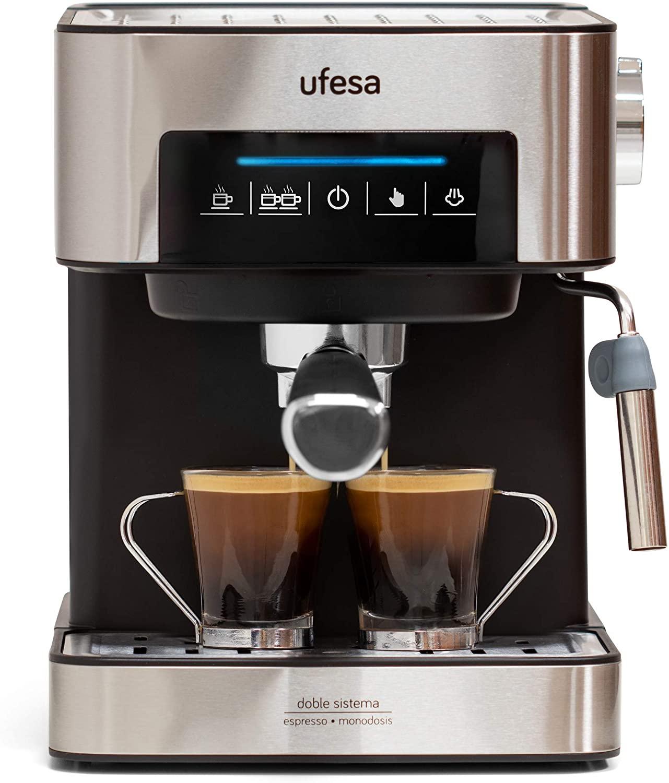 Ufesa CE7255 Cafetera Expresso y Capuccino con Panel Táctil Digital, Vaporizador Orientable, 20, 2 Modos: café Molido o Monodosis