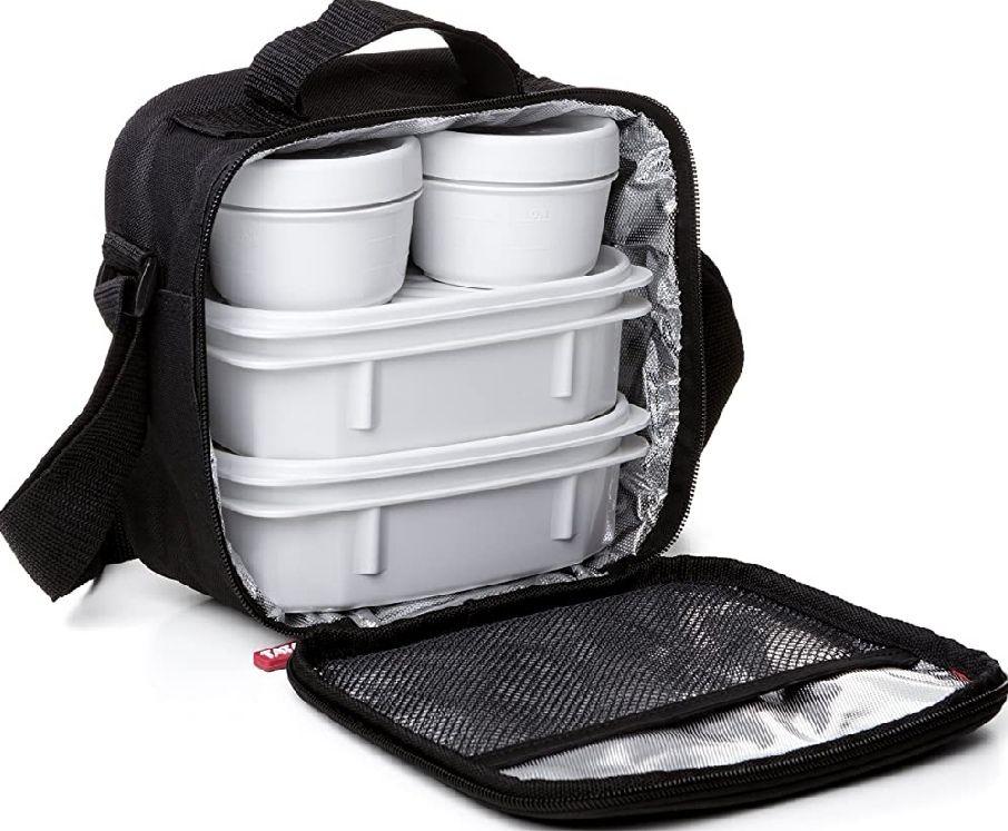 TATAY Bolsa térmica porta alimentos con 4 tapers herméticos incluidos