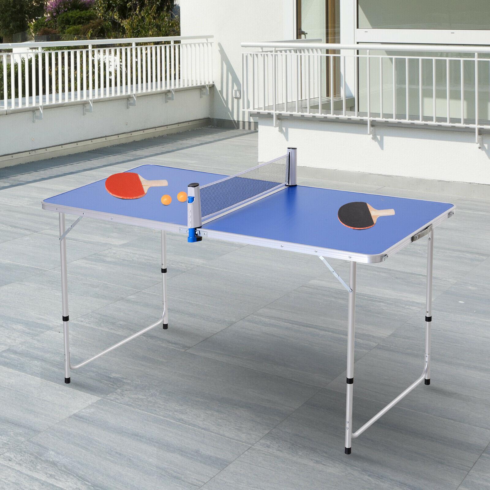 Mesa de Ping-Pong Plegable Altura Ajustable con Palas y Pelotas