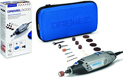 Dremel 3000 - Multiherramienta 130 W, kit con 15 accesorios y estuche, velocidad variable 10.000 - 33.000 rpm