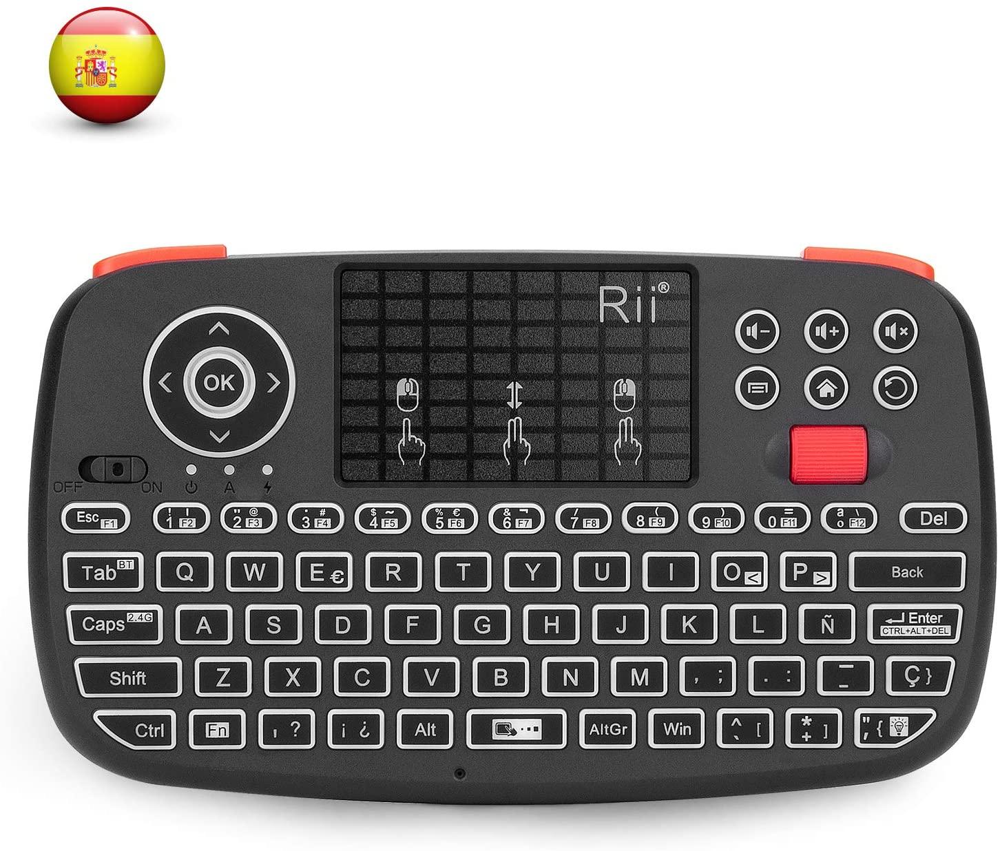 Rii i4 Mini bluetooth teclado inalámbrico retroiluminado, 2 en 1 (Bluetooth & Wireless 2.4 GHz), Qwerty español, para iOS, Android,Windows