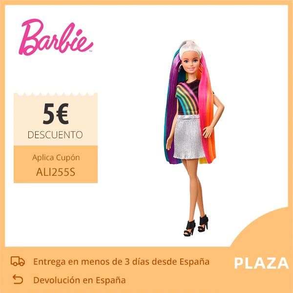 Muñeca Barbie Rubia con Cabello de Arco Iris para niños y niñas