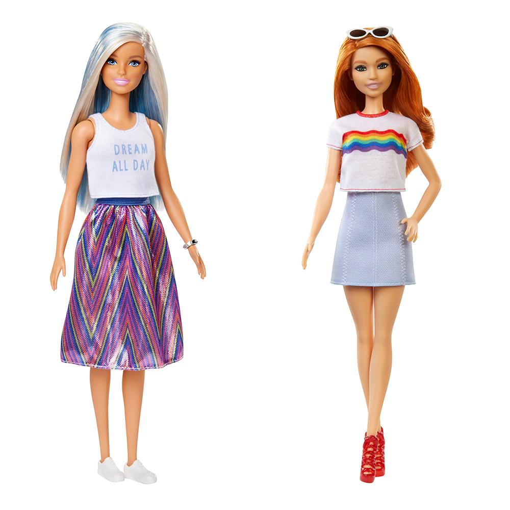 Pack Dos Muñecas de Barbie Fashionista Mechas Azules y Pelirroja