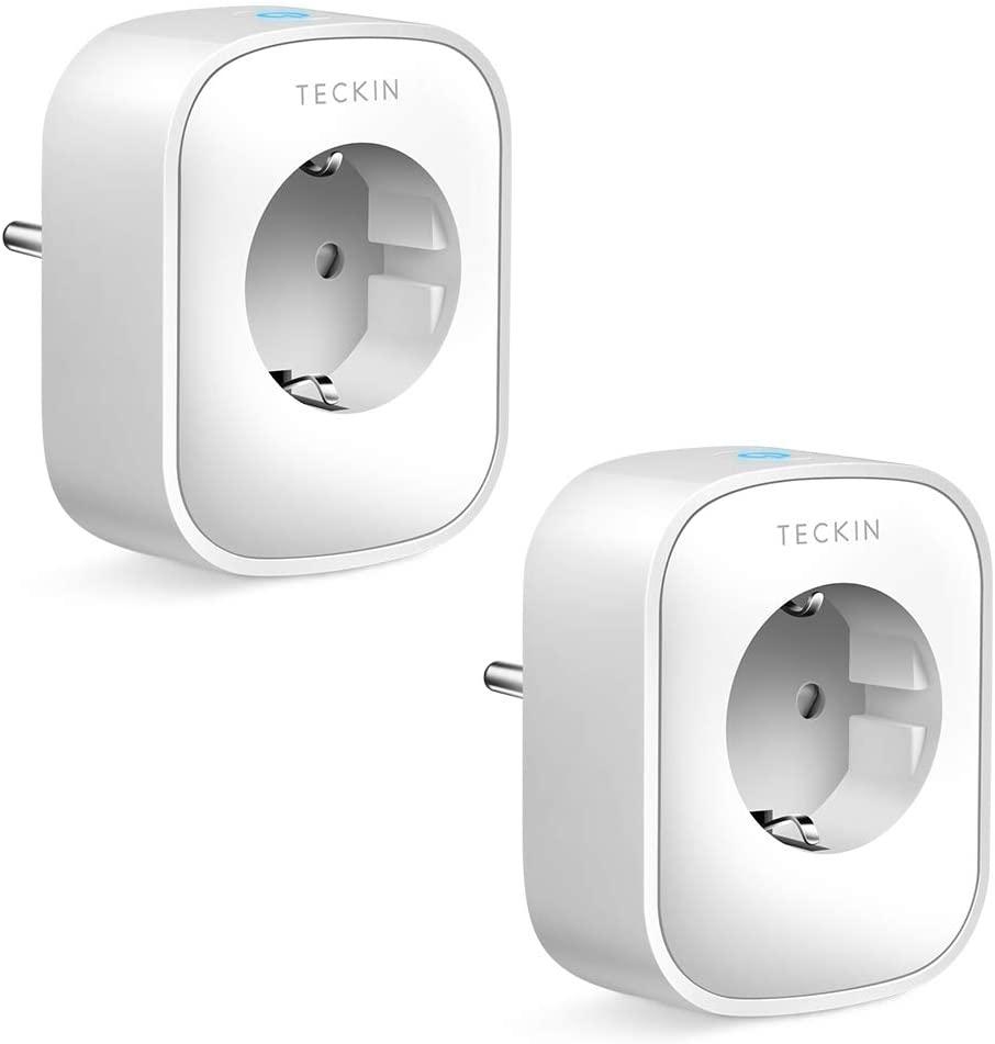 Pack de 2 Enchufe WiFi Con Monitor de Energía, Compatible con Alexa y Google Home, Control Remoto y Función de Temporizador