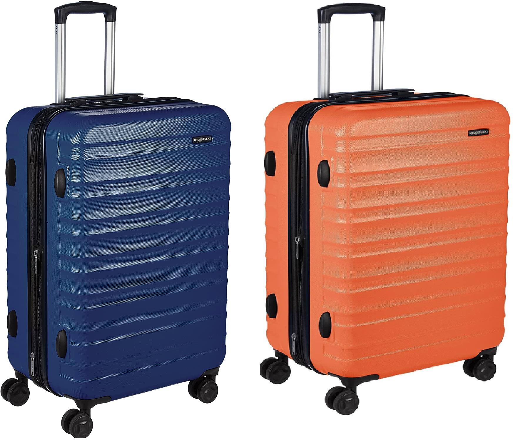 AmazonBasics: Maleta de viaje rígida giratoria, 68 cm. Colores en oferta: azul marino y naranja - Mínimo histórico