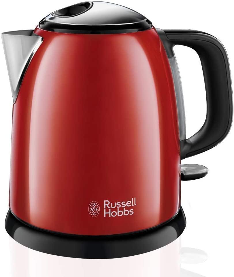 Russell Hobbs Colours Plus - Hervidor de Agua Eléctrico Pequeño (1L) - Rojo