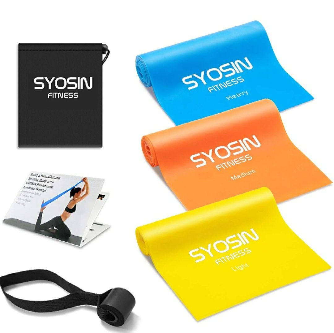 SYOSIN Bandas Elasticas Fitness 3 Piezas Bandas de Ejercicio, con Anclas de guía de Entrenamiento