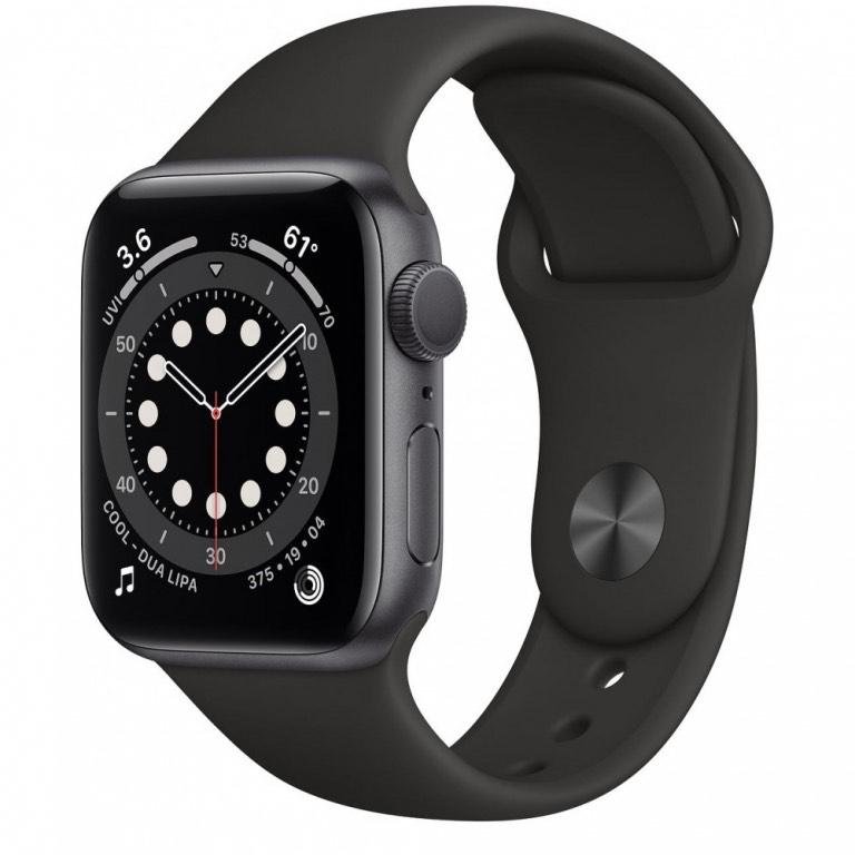 Apple Watch Series 6 GPS 40mm Caja de aluminio gris correa deportiva negra EU