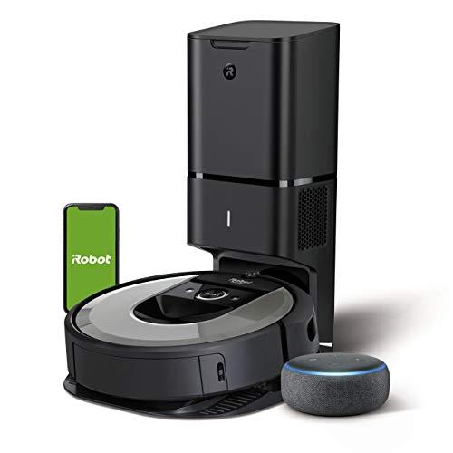 iRobot Roomba i7+ (i7556) - Robot Aspirador con Vaciado automático, aspiración de Alta Potencia y 2 cepillos + Echo Dot (3.ª generación)