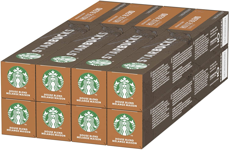 Starbucks House Blend de NESPRESSO Cápsulas de café de tostado medio, 8 x tubo de 10