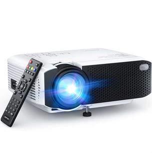Proyector, APEMAN Mini Proyector Portátil en Casa, Soporte HD 1080P, 5000 Lúmenes, Pantalla Grande, Altavoces Duales