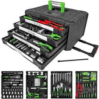 Maleta de herramientas trolley, con 4 cajones – 300 piezas, Negro