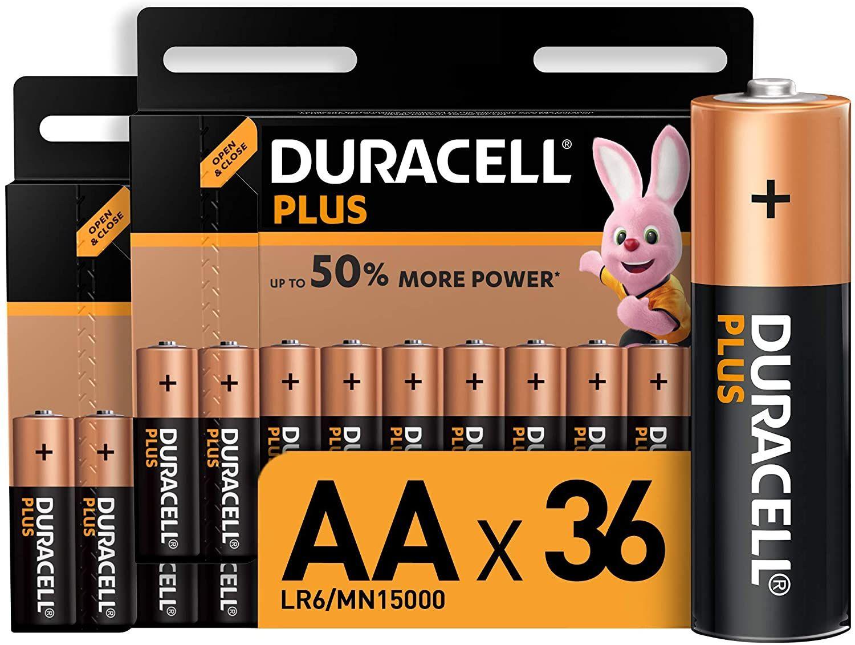Duracell LR06 MX1500 - Plus AA, Pilas Alcalinas, paquete de 36, 1.5 Voltios