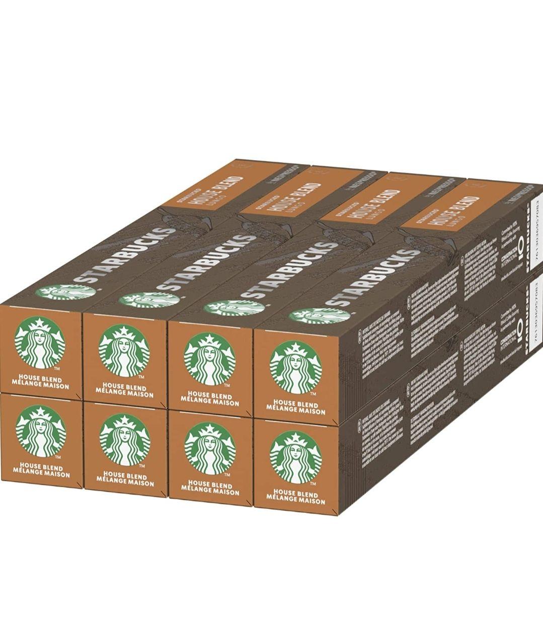 Starbucks House Blend cápsulas compatibles con cafeteras Nespresso, 8 x tubo de 10 uds