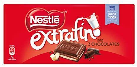 Nestlé Chocolate Extrafino 3 chocolates - Paquete de 25 unidades x 120 gr - Total: 3 kg