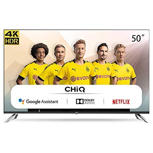 CHiQ Televisor Smart TV LED 50 Pulgadas, 4K UHD, HDR10/HLG, Android 9.0