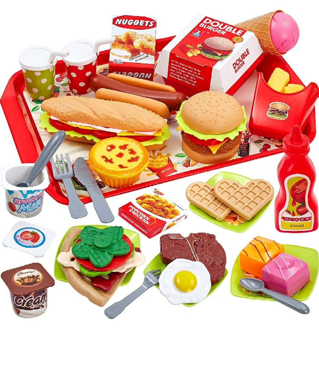 Buyger 63 Piezas Cocina Alimentos de Juguete