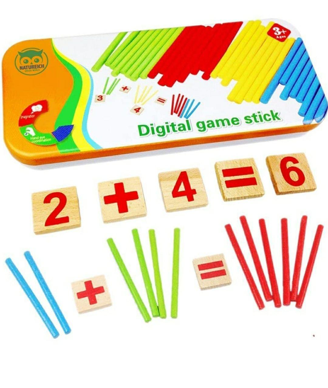 Natureich Montessori Juguete educativo de matemáticas de madera con caja de metal incluida