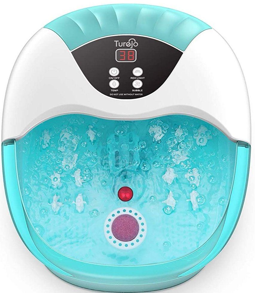 Masajeador de pies- Spa/Baño con Calefacción, Burbujas Oxígeno y luz Infrarroja, con 14 Rodillos de Masaje y Piedra Pómez (Precio Mínimo)