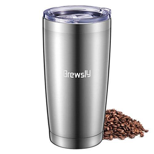 Brewsly 600ml, frasco térmico de acero inoxidable de doble pared (colores disponibles: plata, rojo) - Termo café/te