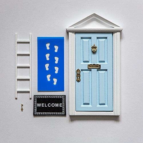 Poema al Ratón Pérez: Puerta Mágica Azul + Pequeña Llave + Postal de Felicitación + Dibujo para colorear + pequeño felpudo + plantilla para las huellas + pequeña escalera