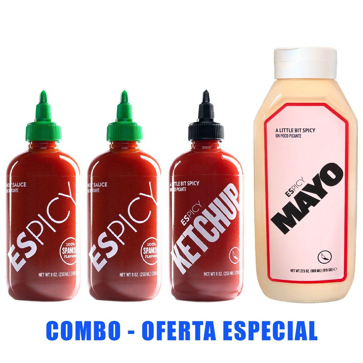 Pack ESPICY | 2 Hot Sauce + 1 Ketchup + Mayo King [960ml]