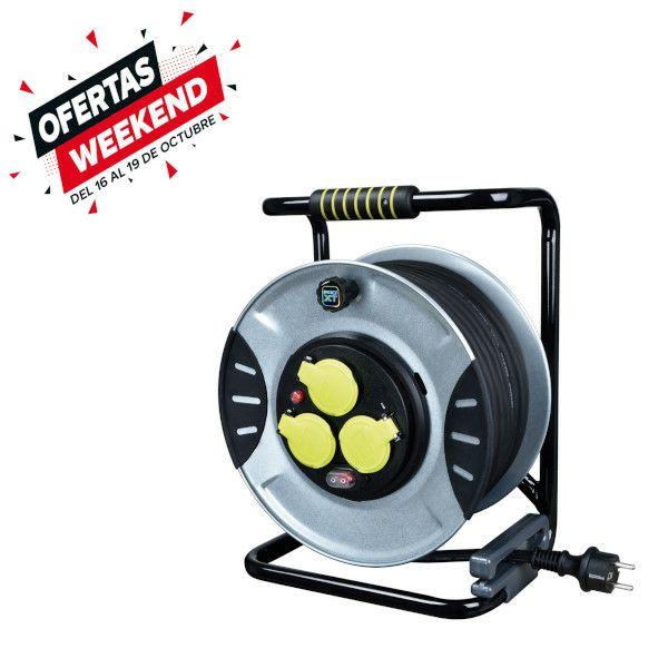 ENROLLACABLE 3 TOMAS 30 M con tambor metálico e interruptor,potencia 3000w ,16A, IP44,3G 2,5 mm²