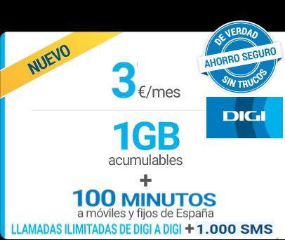Nueva tarifa DIGI - MINI 1GB acumulable + 100 min. x 3€
