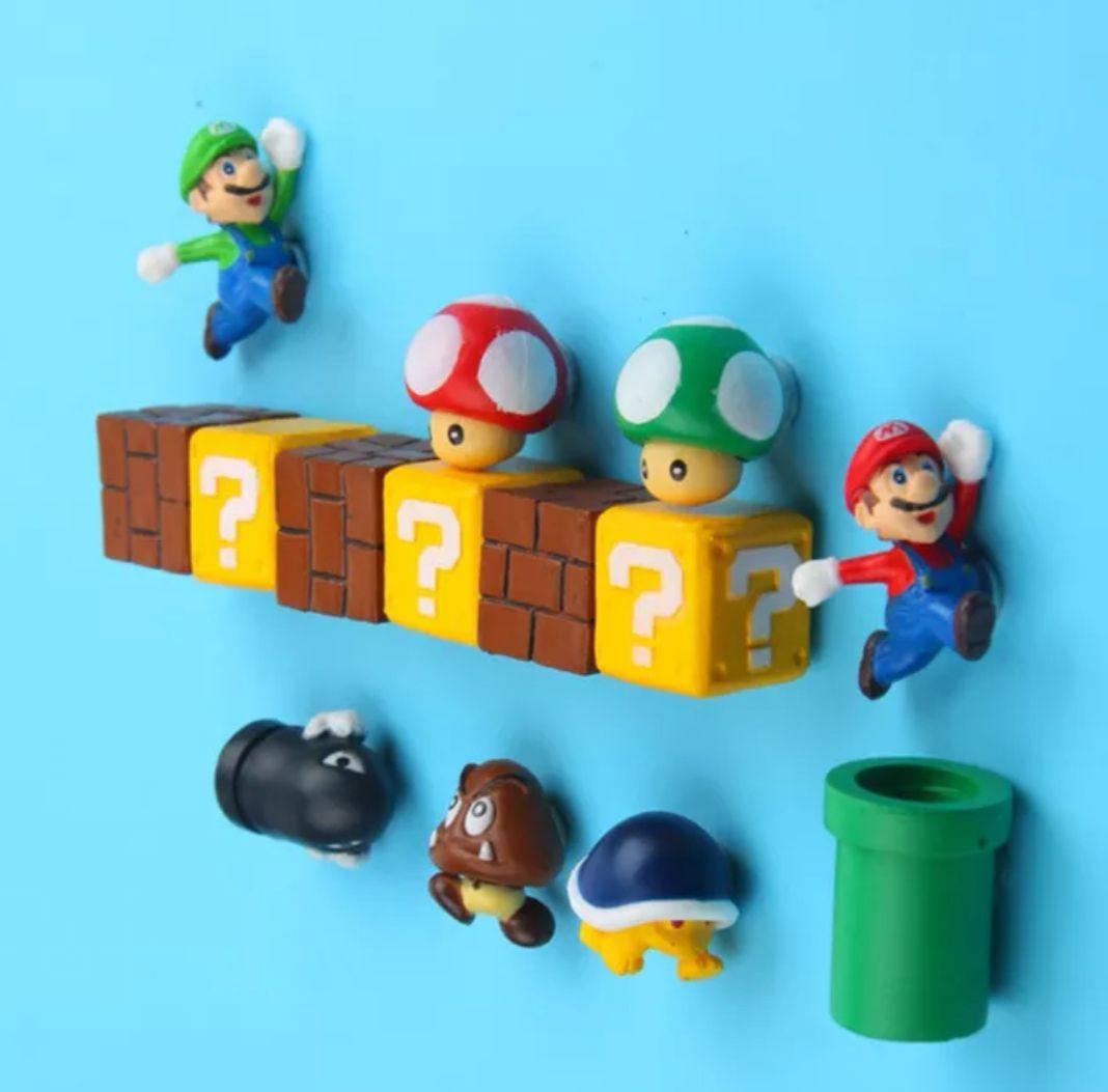(10 Unidades) Imanes de nevera 3D Súper Mario Bros!