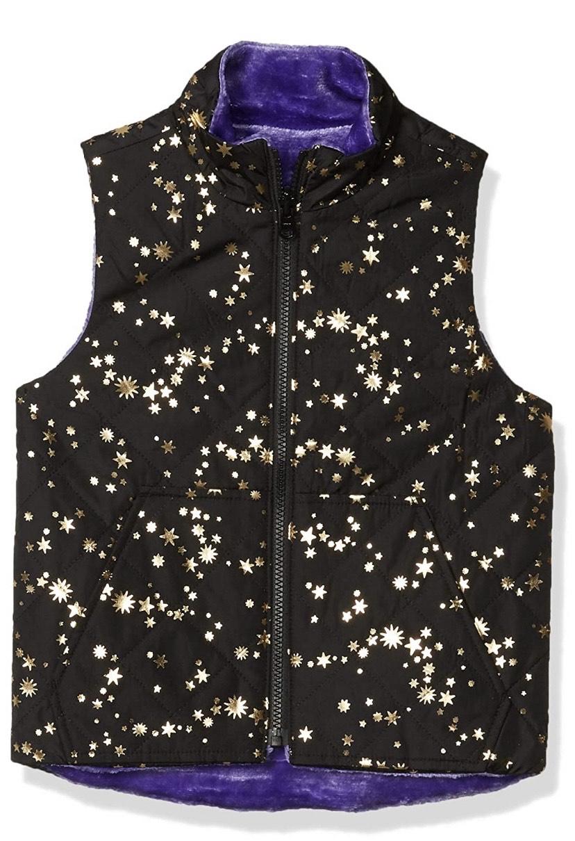 Talla 5/6 chaleco Spotted Zebra Reversible Plush Vest Outerwear-