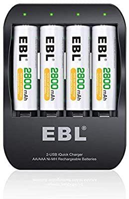 EBL iQuick Cargador de Pila de Ni-MH AA AAA + 4 AA 2800mAh Pilas Recargables (mínimo histórico)