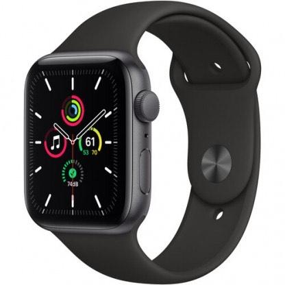 Apple Watch SE 40mm Caja de aluminio en gris espacial Correa deportiva - Negro