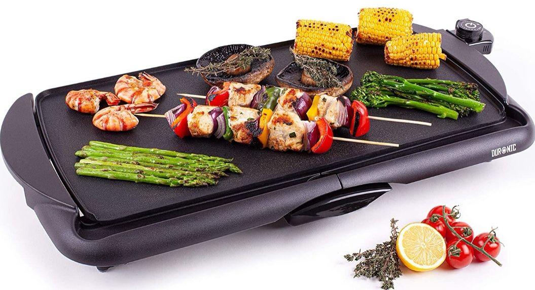 Plancha - Parrilla de asar antiadherente, grill eléctrico con temperatura regulable y bandeja extraíble (Precio Mínimo)