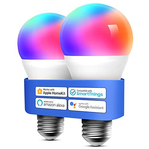 2X Bombillas RGB WIFI compatibles con Alexa, Apple HomeKit y Google Home
