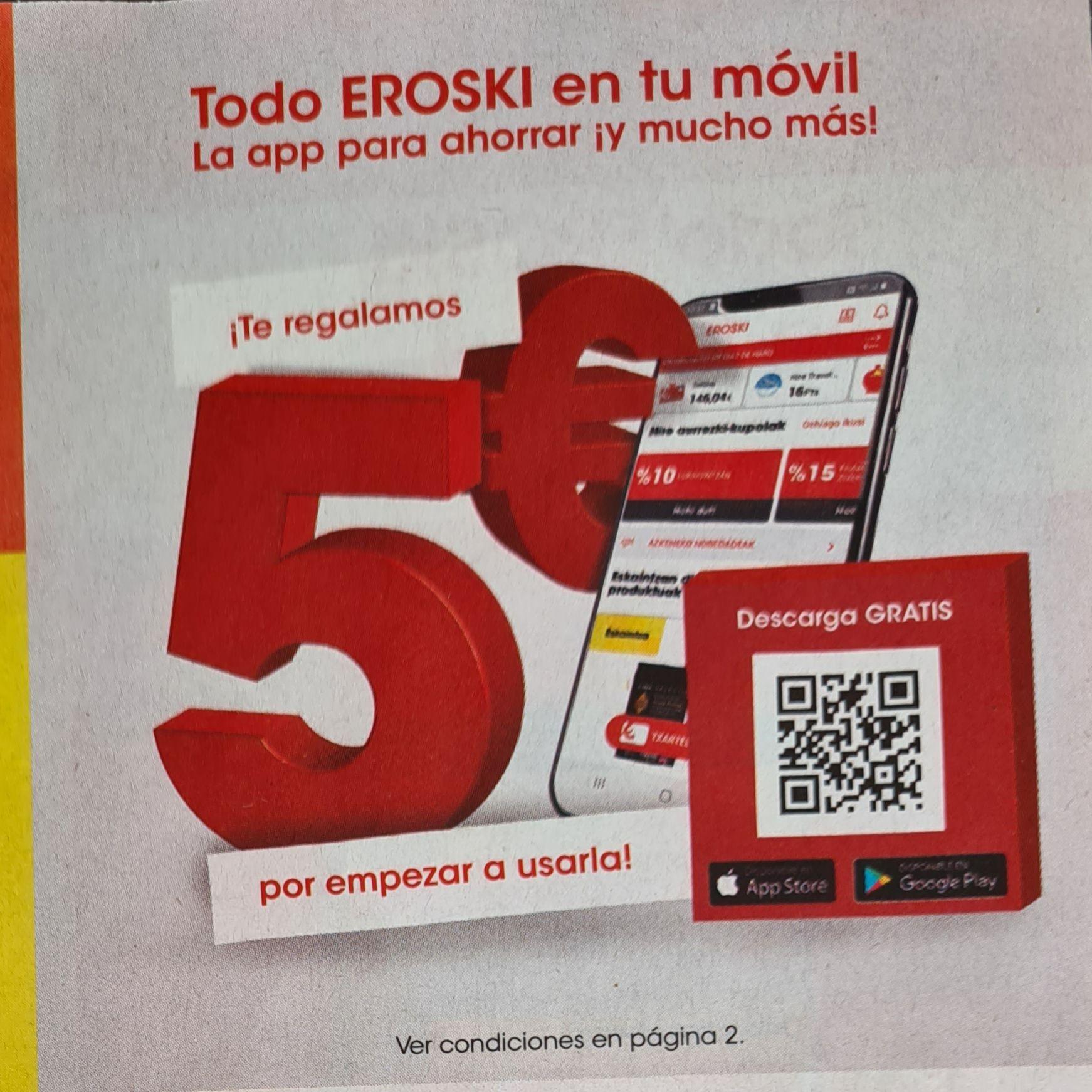 5€ Gratis para Eroski bajando su app