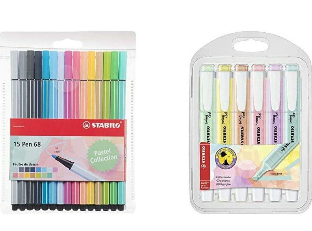 Stabilo Pen 68-Estuche de 15rotuladores de punta media(colores pastel) + Marcador pastel STABILO swing cool Estuche con 6 colores